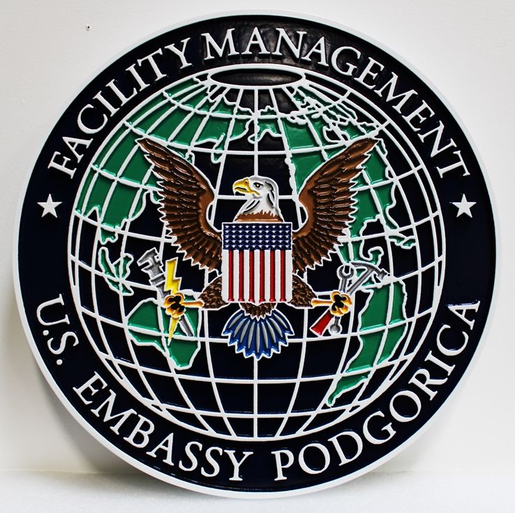 AP-3837 - Carved Plaque of the Seal for Facility Management, US Embassy in Podgorica, 2.5-D