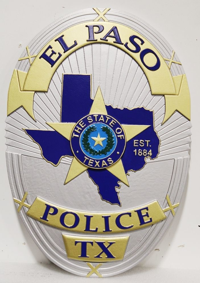 PP-1335 - Carved 3-D Plaque of the  Badge of a Police Officer of the City of El Paso, Texas