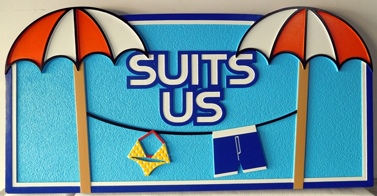 "GB16520 -  Carved and Sandblasted Wood Grain  HDU  Swimming Pool Sign ""Suits Us"" with Two Umbrellas and Swim Suits on a Clothesline as Artwork"