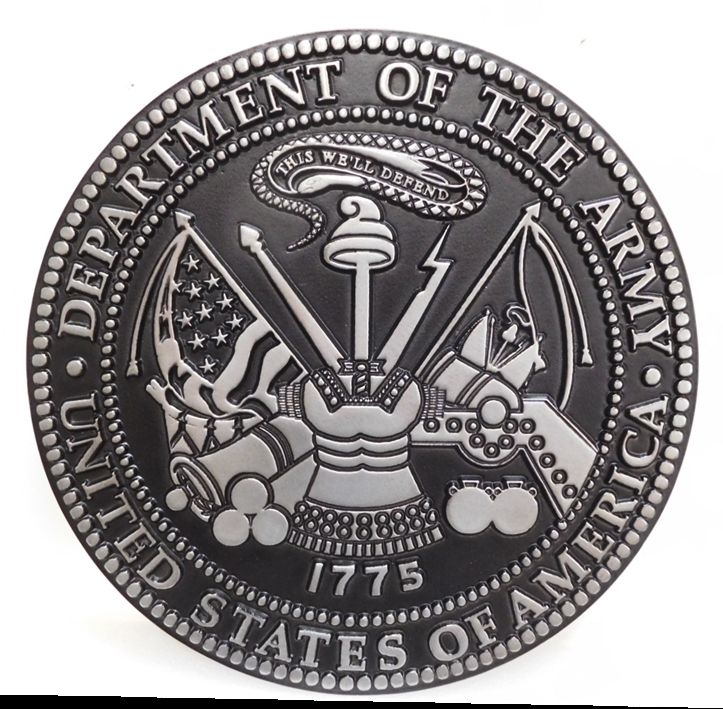 MP-1070- Carved Plaque of the Great Seal of the US Army (USA), 2,5-D, Painted with Metallic Silver with Hand-Rubbed Black