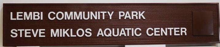 GB16113 - Carved and Sandblasted Wood Grain High-Density-Urethane (HDU)  Sign  for the Lembi Community Park Steve Miklos Aquatic Center., 2.5-D Artist-Painted