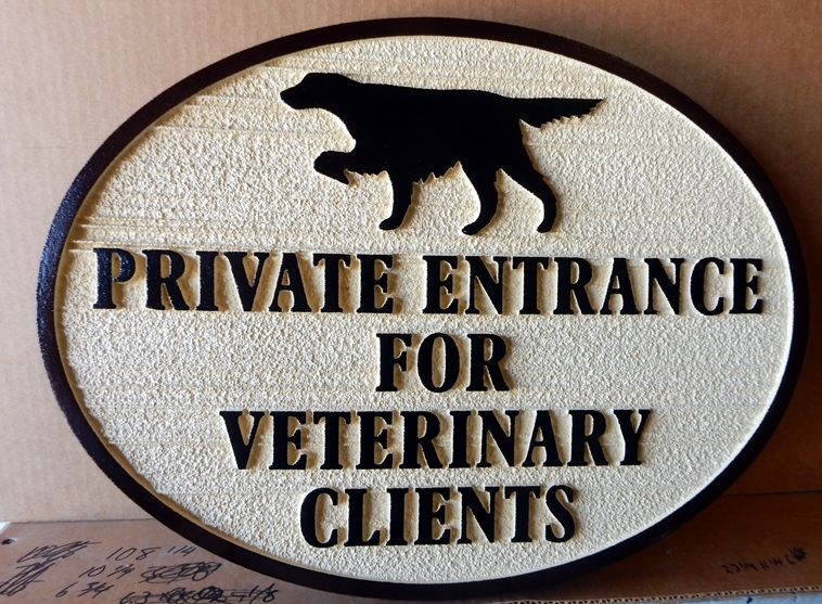 BB11775 - Directional Sign Using Pointer Dog To Show Private Entrance for Veterinary Clients