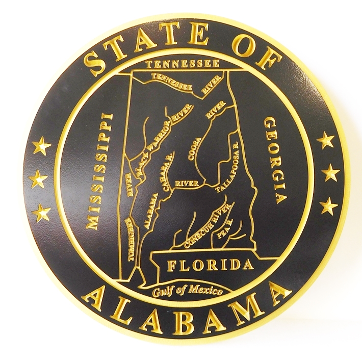 BP-1001 - Carved Seal of the State of Alabama, Artist-Painted