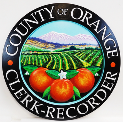 X33368 - Carved 3-D HDU  Plaque of the Seal of the County of Orange, California