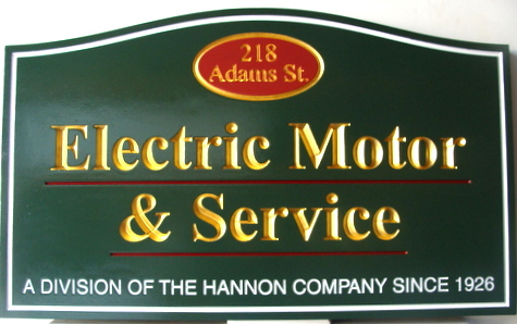 SA28501 - Carved HDU Electric Motor  & Service Sign