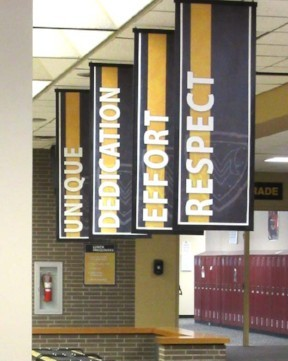 4 hanging school banners, large indoor banners, black/gold, character words, custom banners