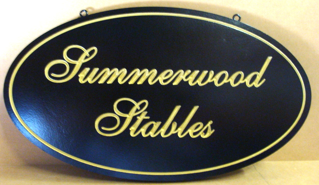 "P25031 - Elegant Engraved Equine Farm Sign, ""Summerwood Stables,"" with Script and Gold Leaf"