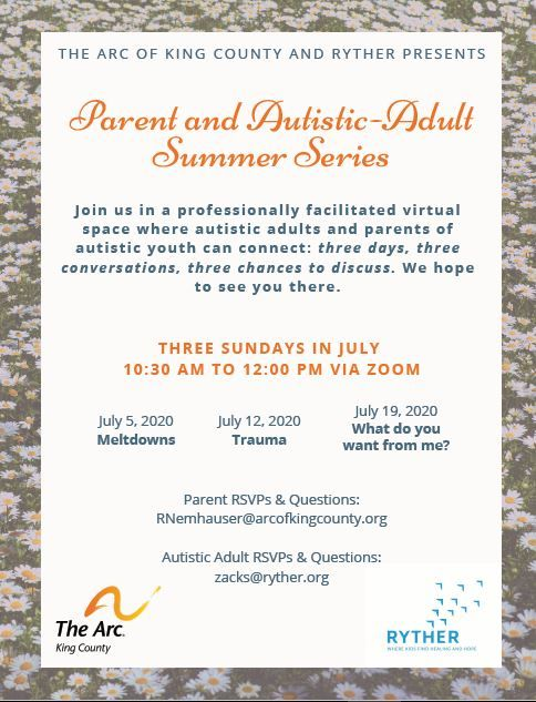Parent and Autistic-Adult Summer Series: What do you want from me?