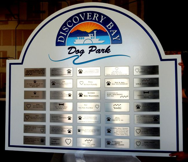 GA16572 - Carved HDU Sign for Discovery Bay Dog Park with Memorial Plaques for Dogs