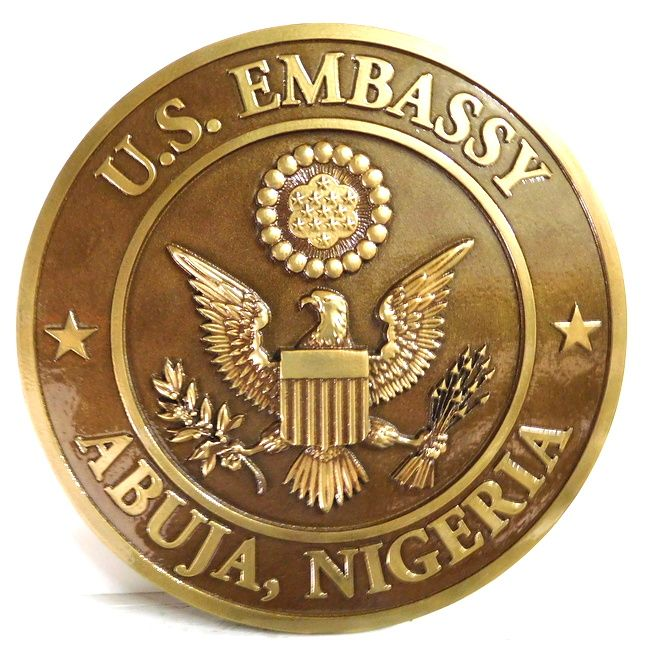 AP-3740 - Carved Plaque of the Seal of the United States Embassy in Abuja,Brass Plated with Brown Patina