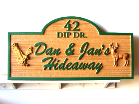 M22742 - Cabin Name & Address Sign with 3-D Carved Eagle & Deer