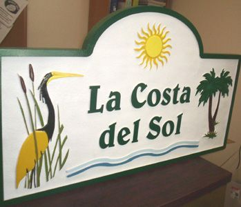M1242 - Condo or Apartment Entry Sign with Palm Trees and Egret (Gallery 19)