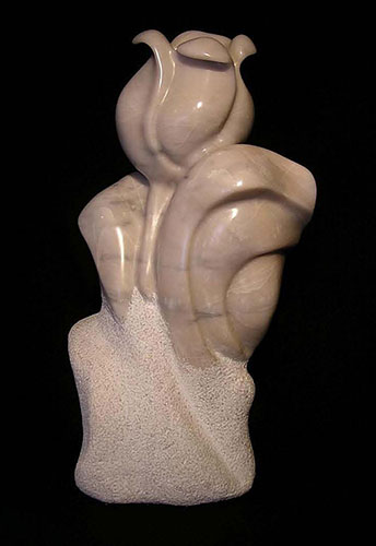 "Big Tulip, Vancouver Island marble, 17"" high"