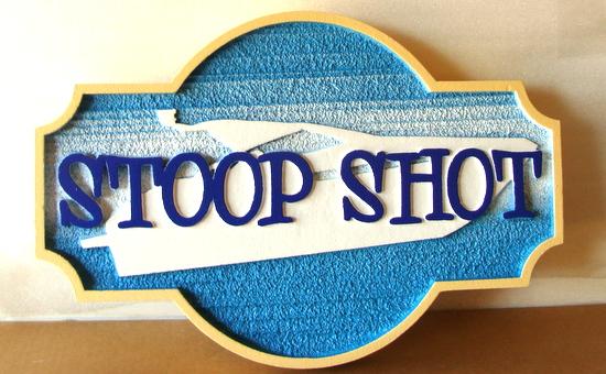 """I18668 - Sandblasted Property Name Sign, """"Stoop Shot"""""""