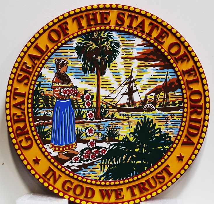 BP-1118 - Carved Plaque of Seal of the State of Florida, with Giclee Print as Artwork
