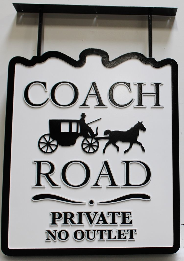 "H17081 - Large Carved High-Density-Urethane (HDU) Street Name  Sign, ""Coach Road"", with a Horse and Coach as Artwork"