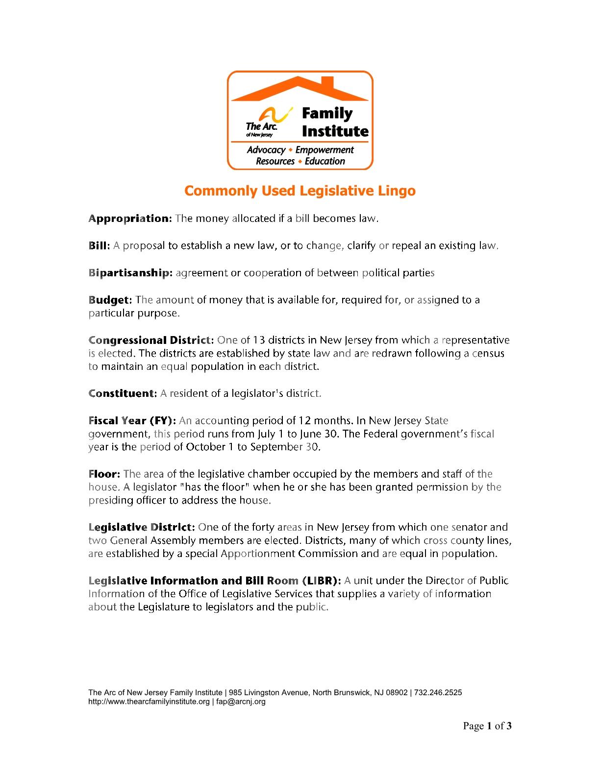 Commonly Used Legislative Lingo