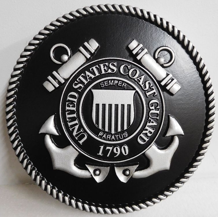 NP-1100- Carved Plaque of the Great Seal of the US Coast Guard, 3-D Painted Metallic Silver with Hand-Rubbed Black