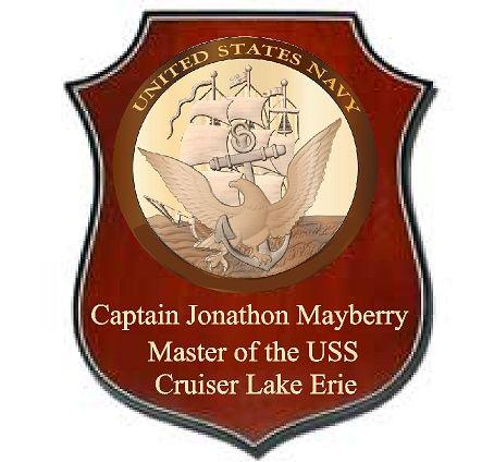 V31238  - Custom Personalized Carved 3D Mahogany Shield Ship Plaque