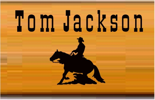 O24315 - Wood Sign with Ranch Owner's Name and Silhouette of Cowboy on Horse