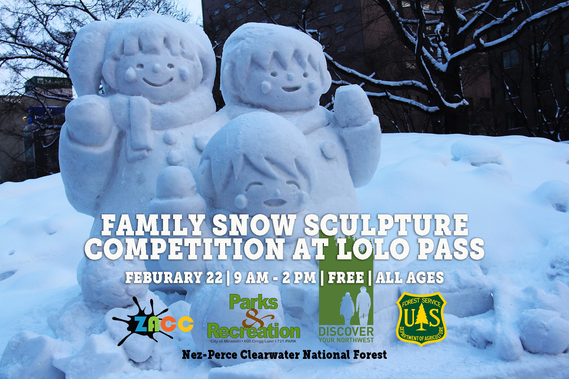 Family Snow Sculpture Competition at Lolo Pass
