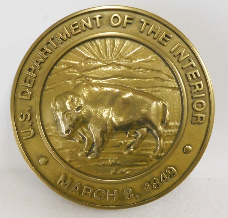 M7103 - 3-D Brass Wall Plaque for the Seal of the US Department of the Interior, with Buffalo as Artwork