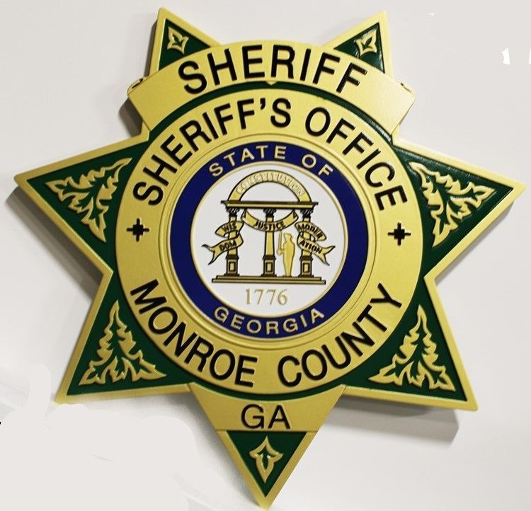 PP-1670 - Carved 2.5-D HDU Plaque of the Star Badge of the Sheriff's Office, Monroe County, Georgia