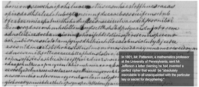 "1801: Patterson's ""Perfect Cipher"" Letter sent to Thomas Jefferson"