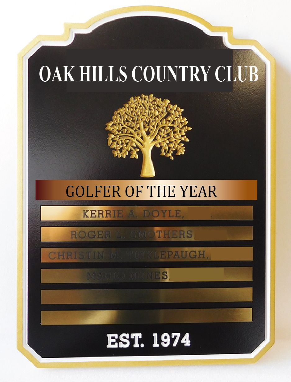 Z35802-  Perpetual Plaque for Oak Hills Country  Club Golfer of the Year with Brass Plates and Brass Tree Logo