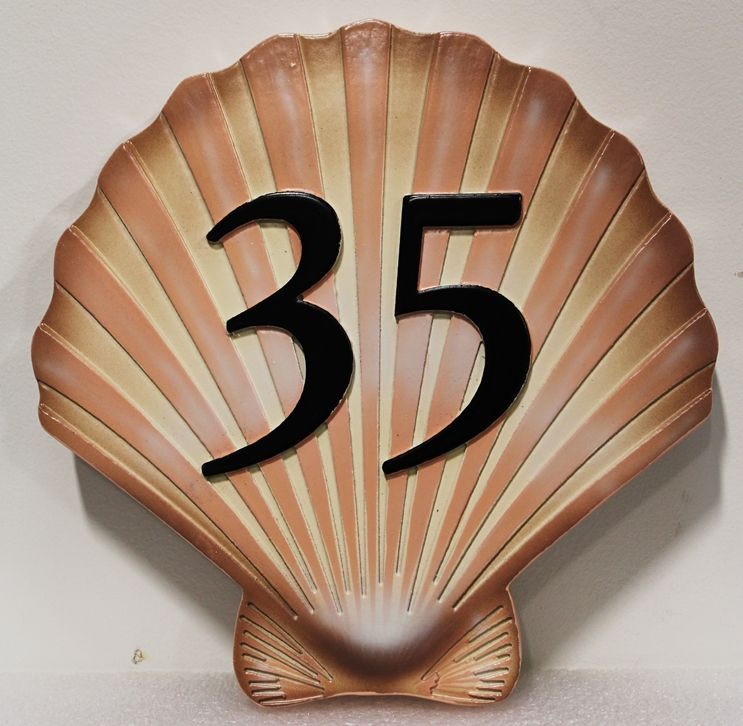 L21510 - Carved Beach Home Address NumberSign, in the Shape of a Seashell