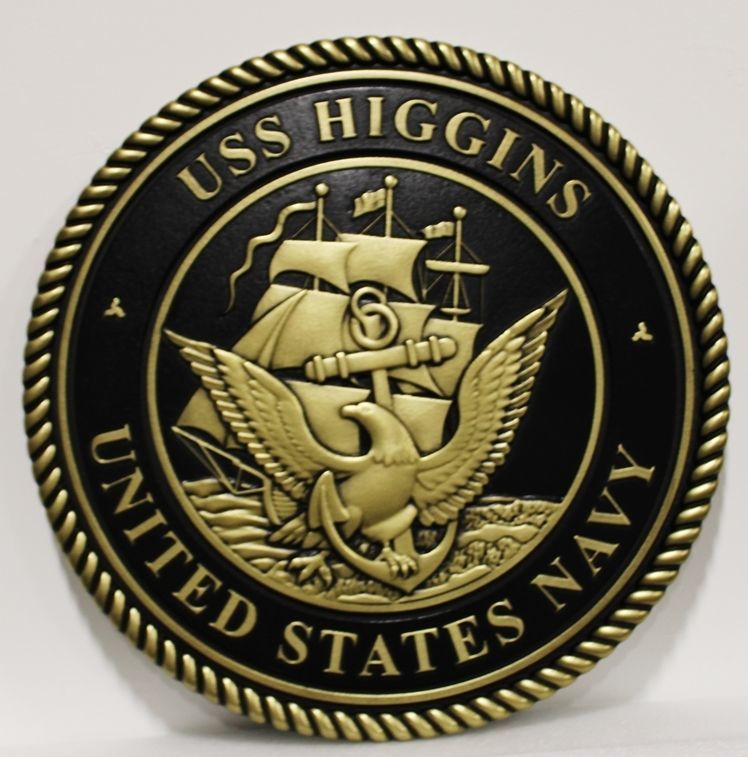 JP-1292 - Carved 3-D Bas-Relief Plaque of the Navy Seal, Made for the USS Higgins, DDG 76