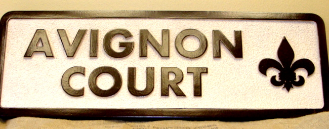 "K20120 - ""Avignon Court""  Carved and Sandblasted HDU Apartment Identification Sign"