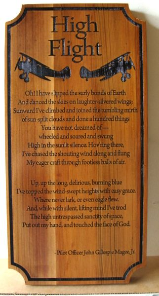 """V31685 -  Wooden Cedar Wall Plaque Engraved with the Poem """"High Flight"""" by John McGee"""
