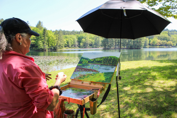 Painting at Bass Lake on the Blue Ridge Parkway