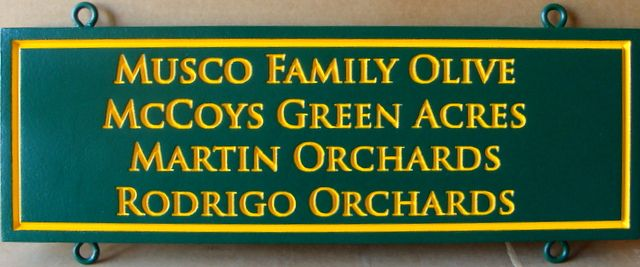 """O24754 - Engraved HDU """"Rider"""" Sign for Entrance to Olive Orchards"""