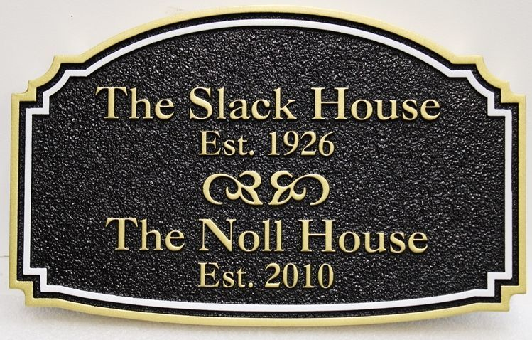 "F15935 - Carved and Sandblasted Historical Marker  Sign  for the ""The Slack House - 1926"""