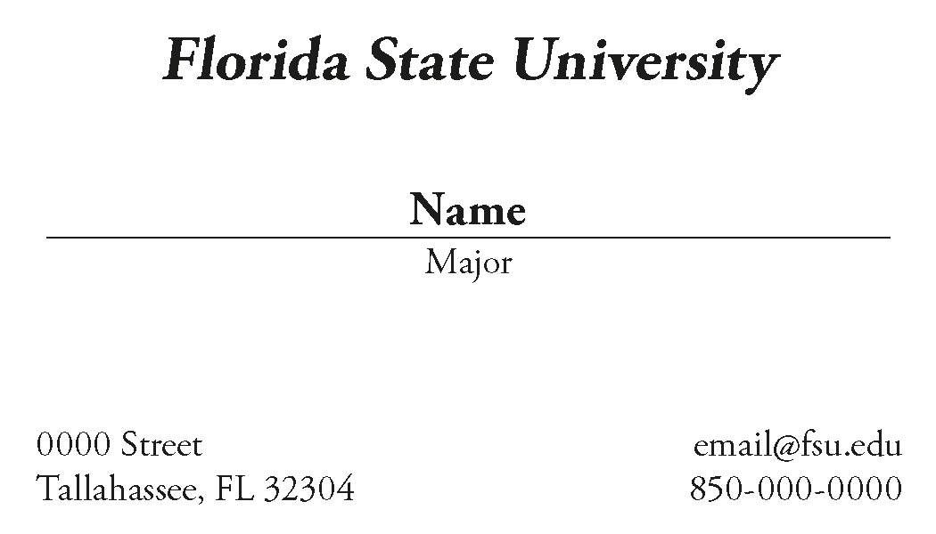 FSU Student Business Cards - No Color