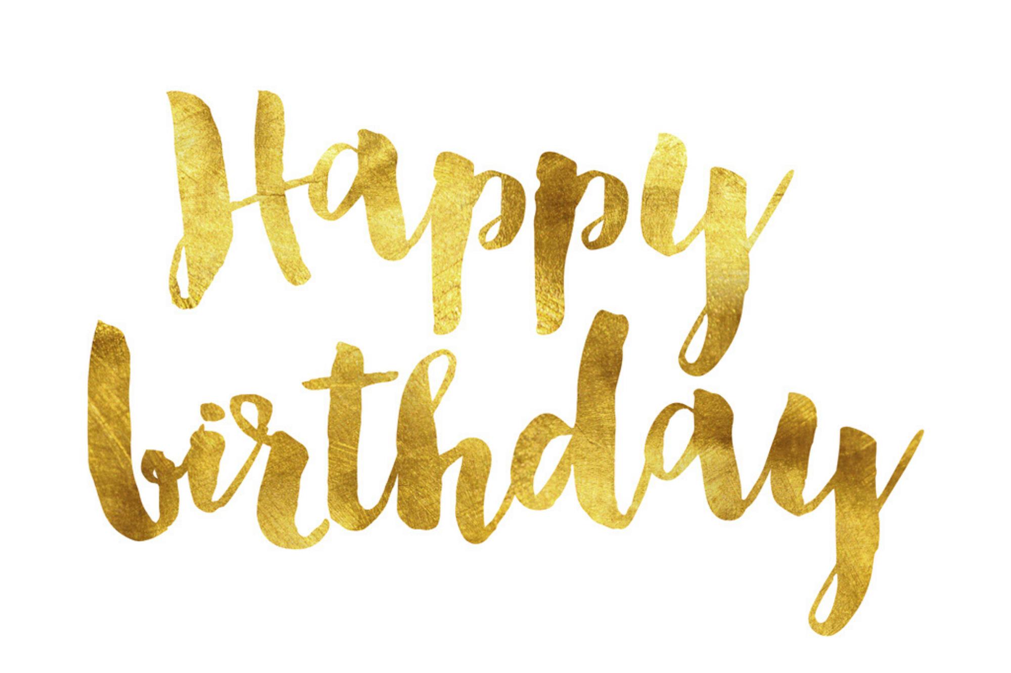 Happy Birthday Gold-White
