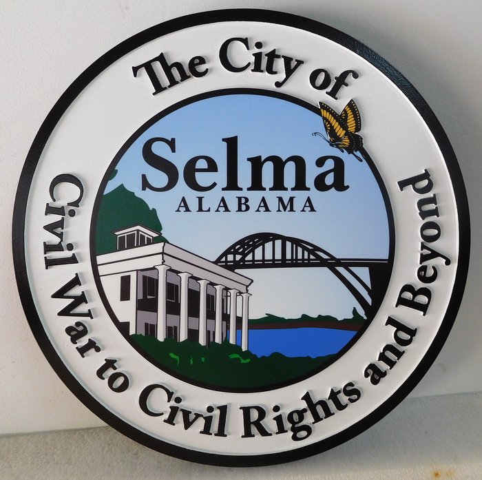 DP-2140 - Carved Plaque of the Seal of the City of Selma, Alabama,  Artist Painted