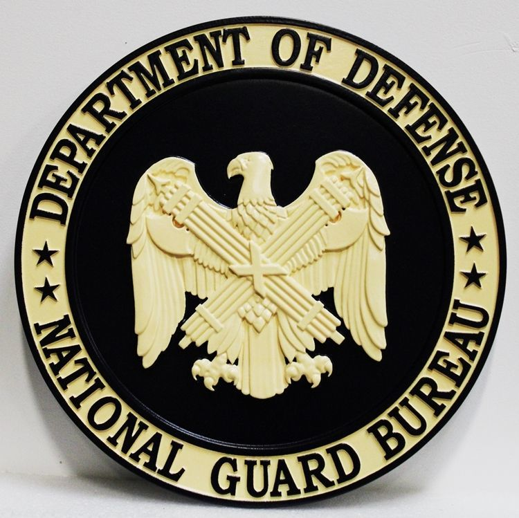 IP-1729 - Carved 3-D HDU Plaque of the Seal of the National Guard Bureau of the Department of Defense