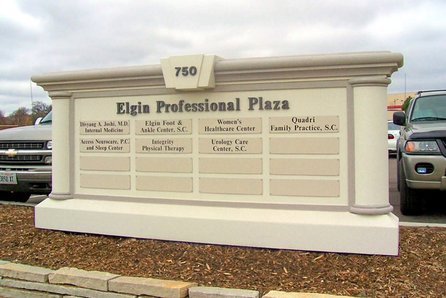 "S28160 - Large Medical Office ""Elgin Professional Plaza"" Monument Directory Sign with Office Names on Replaceable Nameplates"