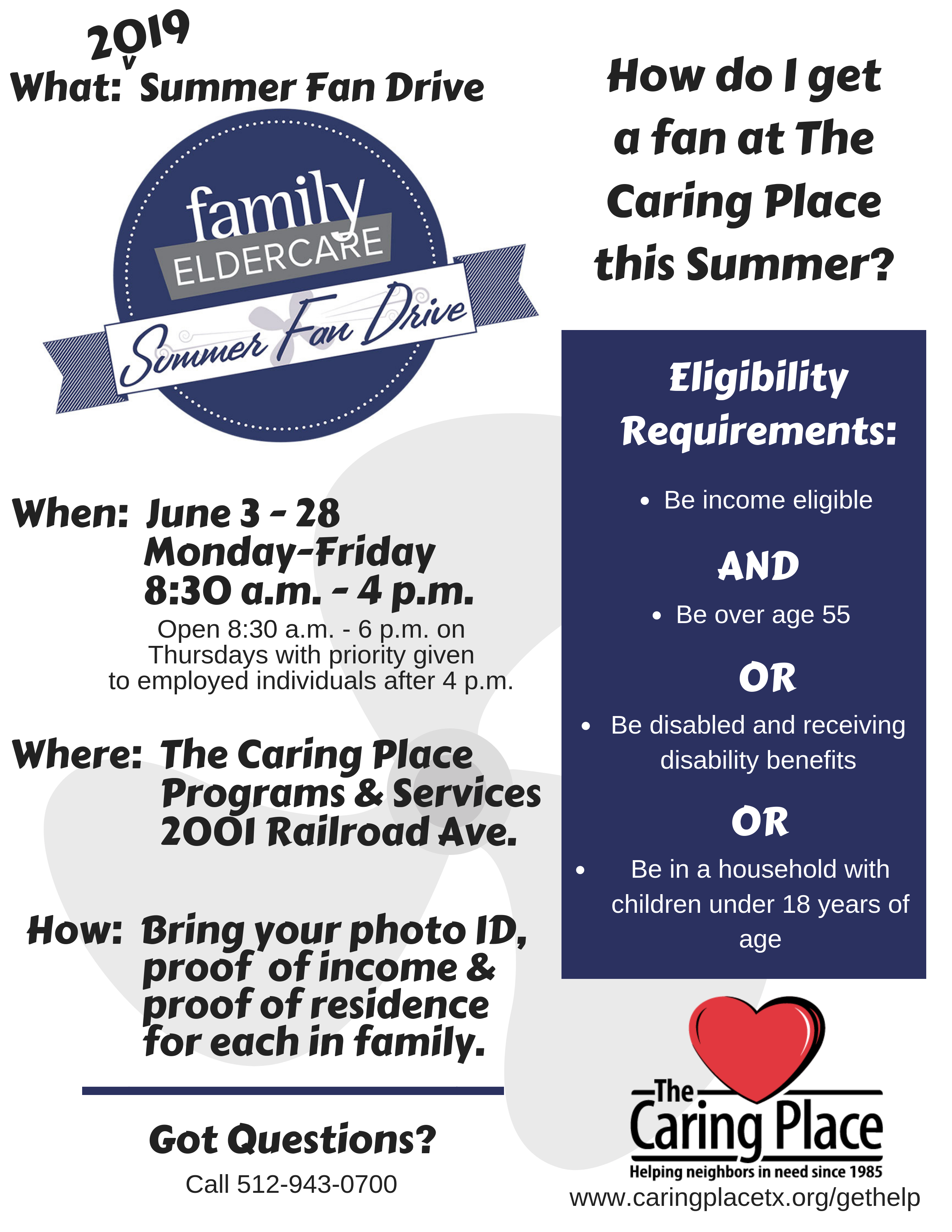 The Caring Place Helps Distribute Fans this Summer