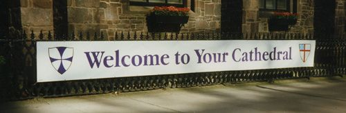 Vinyl Banner, 3 ft. x 20 ft., Mounted on Wrought Iron Fence
