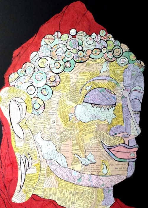 "Redondo Buddha, Mixed media collage, 18"" x 24"""