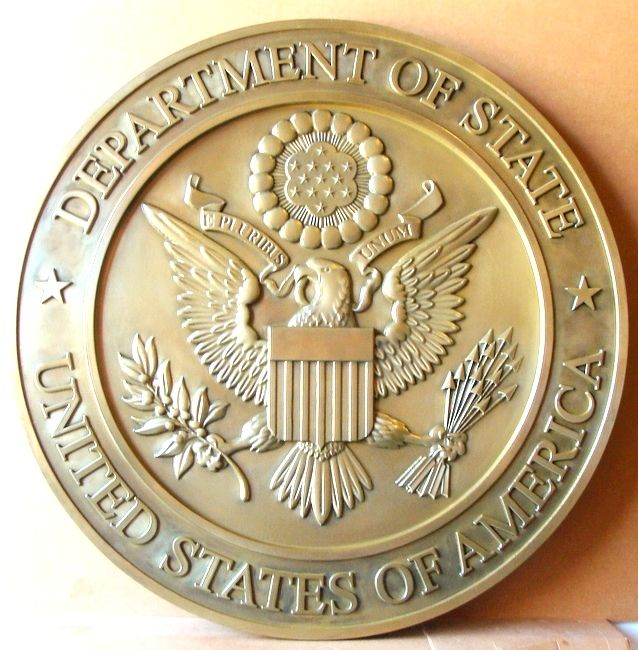 AP-3660 - Carved Plaque of the Seal of the United States State Department, Brass Plated