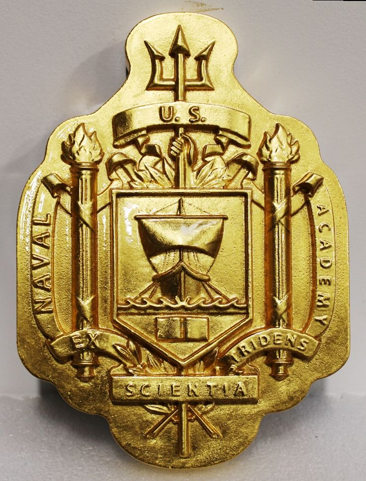 JP-2361 - Carved 3-D Bas-Relief Wall Plaque of the Seal of US Naval Academy at Annapolis
