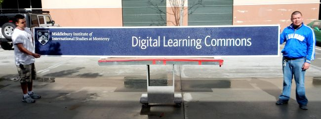 "FA15566 - Carved and Sandblasted  Sign for ""Digital Learning Commons Study"" of the Middlebury Institute of International Studies, 2.5-D"