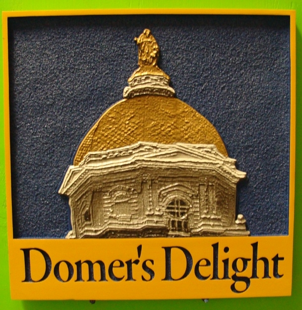 """I18764 - Carved and Sandblasted Residence Name Sign """"Domer's Delight"""", with Italian  Medieval Church Dome as Artwork"""