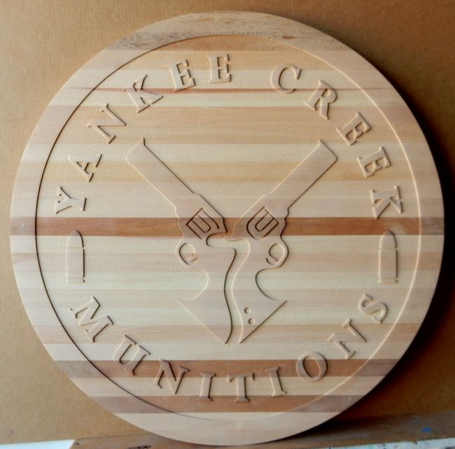 """SA28786 - Carved Natural (No Stain) Cedar Wood Sign for the """"Yankee Creek Munitions"""" Company, with  Carved Pistols"""