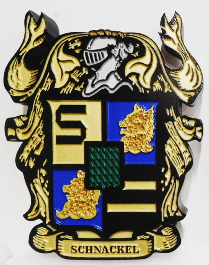 XP-3032 - Carved Plaque of Coat-of Arms for the Schnackel  Family, with Helmet and Shield, 2.5-D Multi-Level Relief, Artist-Painted
